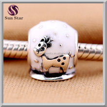 White Enamel Charms Deer Silver Beads Fits Original European Bracelet Neaclace Pandent 925 Sterling Silver Christmas DIY Jewelry