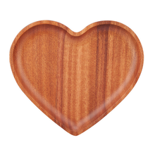 eco-friendly heart shape wooden food tray for children use