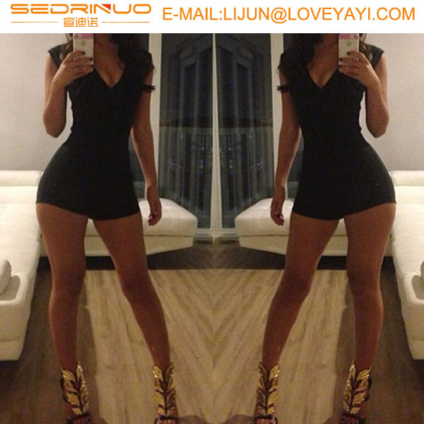 New Womens Ladies Black Novelty Backless Sexy Jumpsuit 2015Hot Bodycon Shorts ClubWear Overalls Sexy Outfit Bodysuit