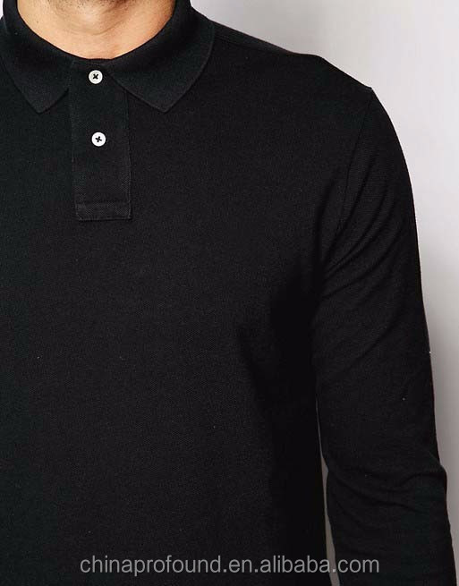 custom fashion design mens long sleeve polo shirt flat knit collar black t-shirt polo tshirt