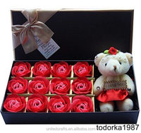 Romantic Rose Soap Flower With Little Bear Great For Valentine's Day birthday