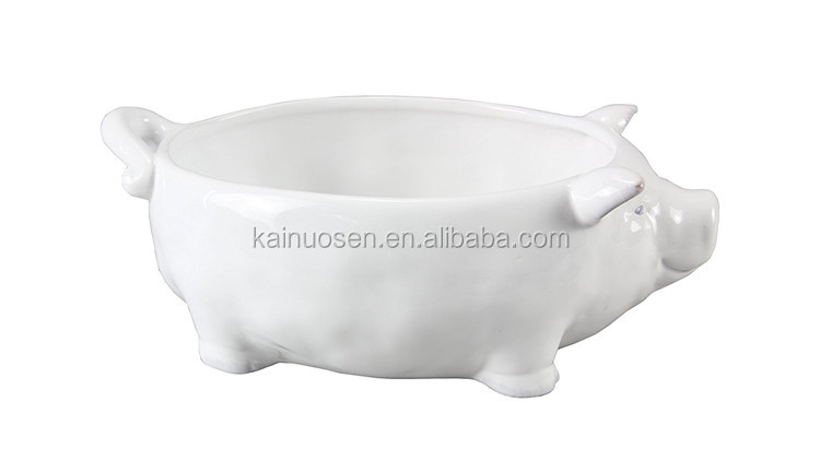 personalized handmade painted color glazed Ceramic pig serving dish