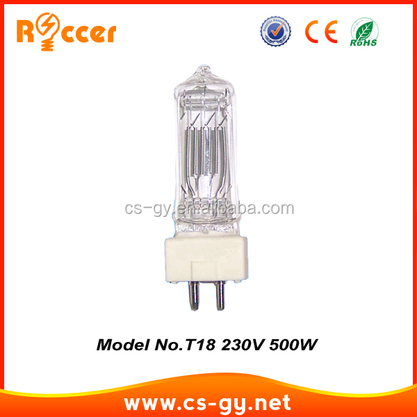 professional lighting high quality new halogen quartz 230V 500W T18