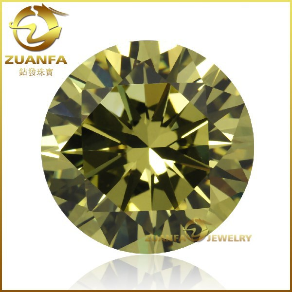 China manufacturer round shape 2mm olive loose synthetic cz price of 1 carat diamond