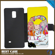 3D blank sublimation phone case flip cover leather case for samsung note 4