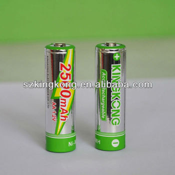 1.2v AA 2500mah Nickel Metal Hydride rechargeable battery