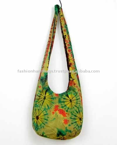 Tie Dye Cotton canvas embroidered Shoulder Bag
