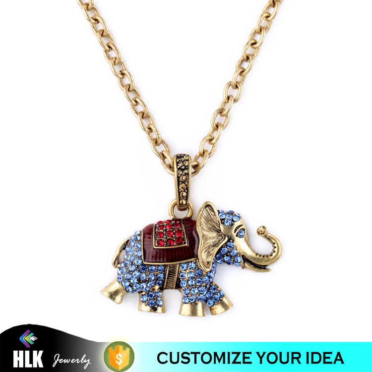 thailand jewelry fashion 2015 full crystals gold elephant pendant necklace