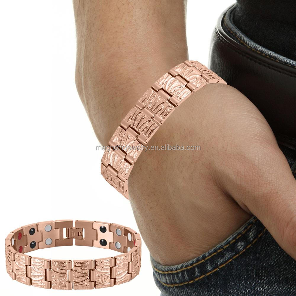 4 IN 1 Health Elements Positive Quantum Men Bio Energy Rose Gold Bracelet