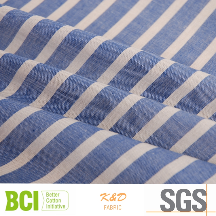 blue white plain cotton stripe fabric for shirts