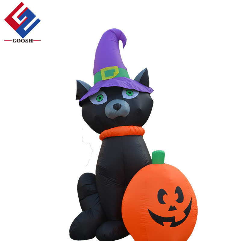 Airblown inflatable outdoor friendly halloween pumpkin cat giant inflatable lucky cat halloween decorations outdoor