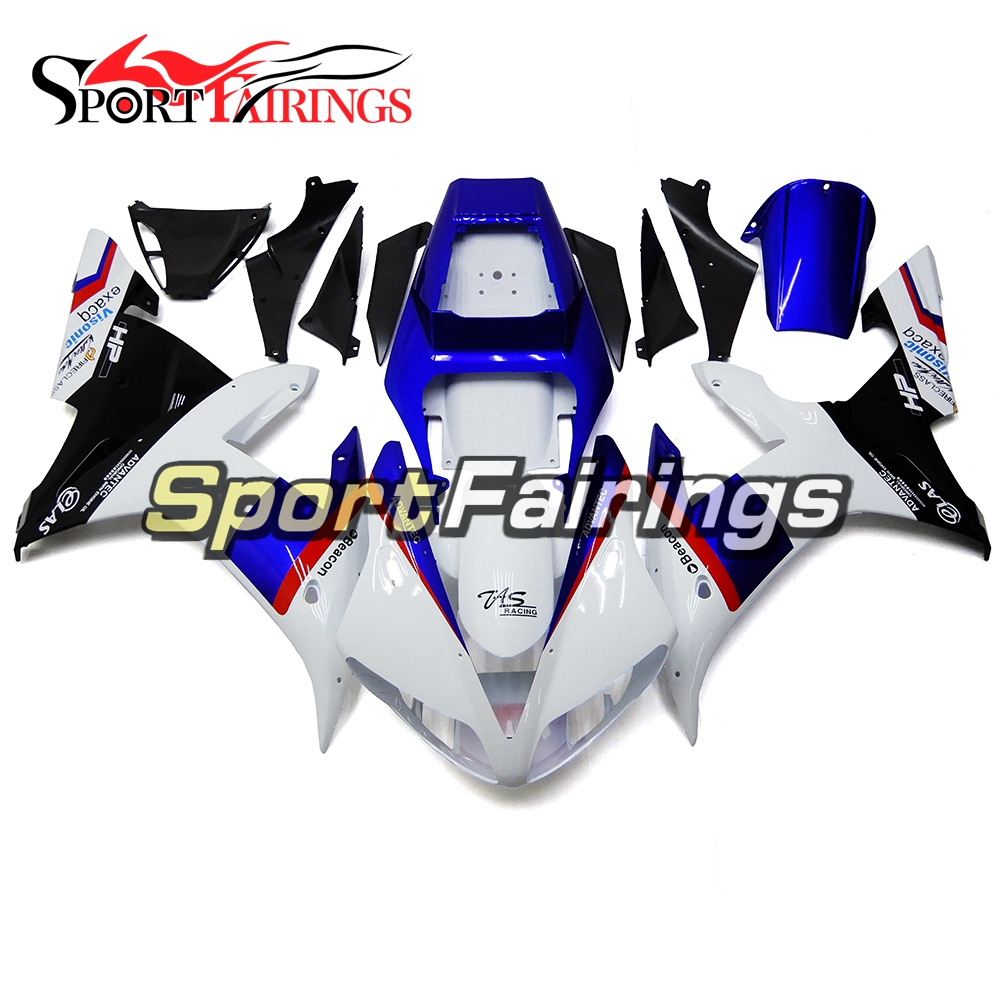 Full Fairings For Yamaha YZF <strong>R1</strong> 2002 2003 <strong>02</strong> <strong>03</strong> ABS Plastic Injection Motorcycle Fairing Kit Body Kits YAMALUBE White Blue