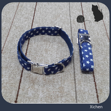 High quality cotton denim fabric printed stars comfortable fashion dog collars, Nylon dog collar covered with cotton denim