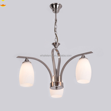 C013,Modern Design Three Heads White Glass and Satin Nickel Finish Iron Lighting Chandelier