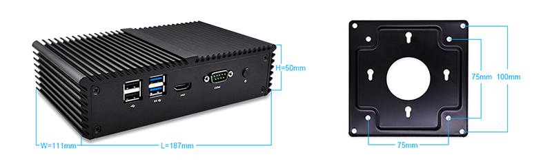 Qotom-Q555G6 Core i5-7200U Qotom Mini PC with AES-NI 6 Gigabit NIC Barebone Computer