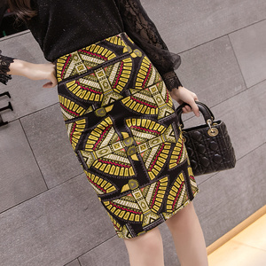 Women Fashion African Printed Skirt Ladies Office Wear Pencil Skirts