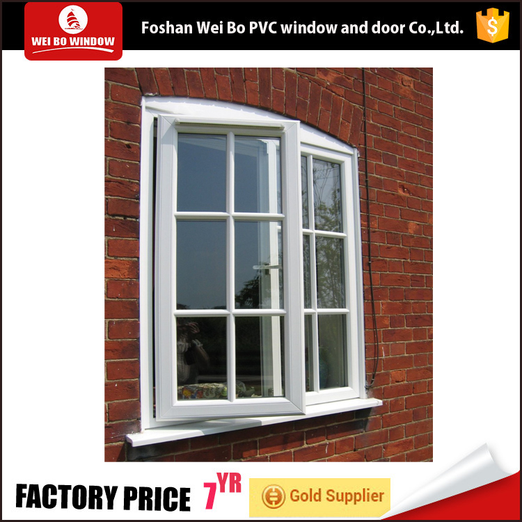 China factory pvc casement window,plastic swing casement window with grids