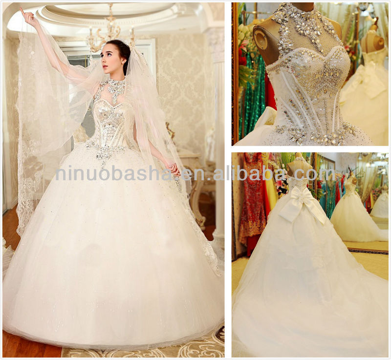 Gorgeous Ball Gown Wedding Dress 2014 High Neck Cathedral Train ...