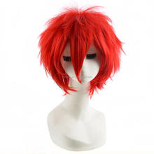 32cm Red Short Straight Haircuts Anime Akashi Seijuro Cosplay Harajuku Male Wigs Cheap Synthetic Hair Men Bob Wig With Bangs