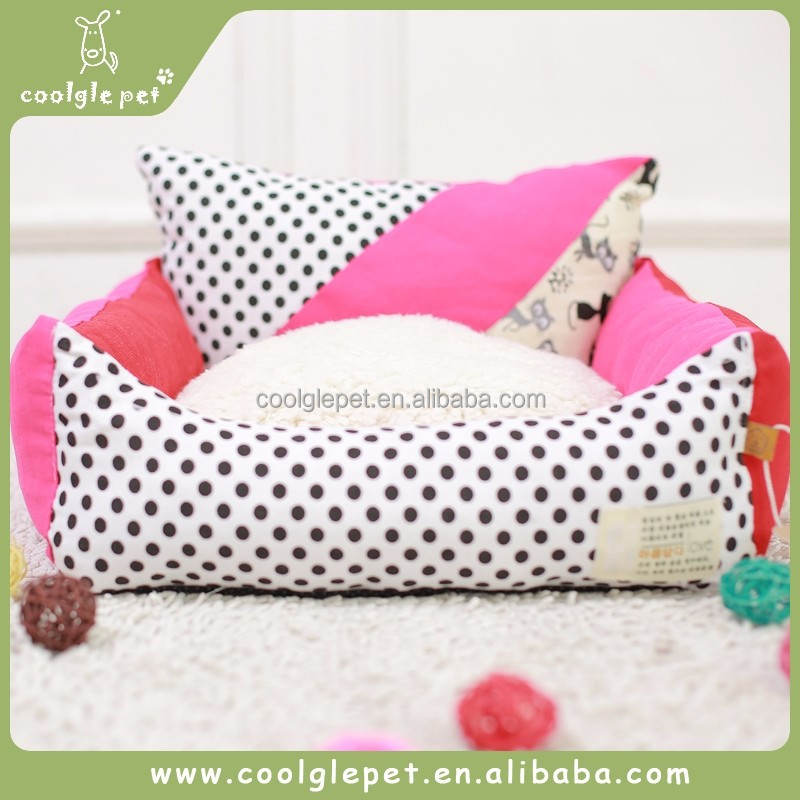 Simple Design Quality Fabric Grid Bedding Square Bed Pet Red House Canvas Dog Sofa