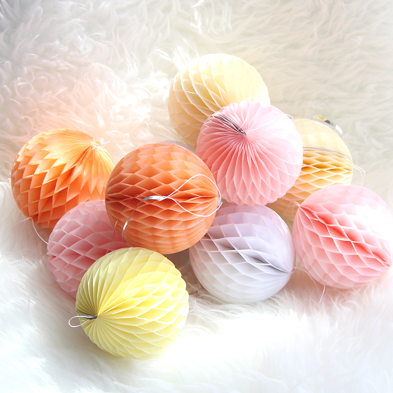 Colorful Round Tissue Paper Craft Honeycomb Ball for Wedding Birthday Party