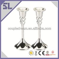 Floor Stand Wedding Decor Metal Candle Holder Double Heart Silver Plated Wedding Decorated Candle Holder