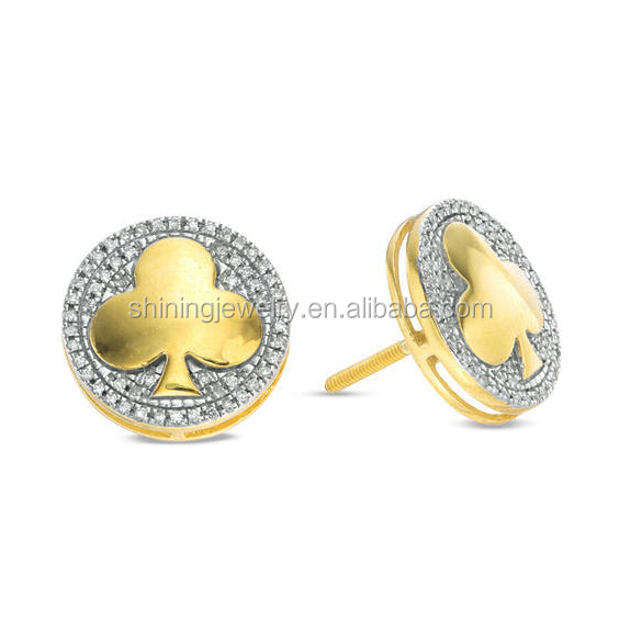 2018 new design brass cz micro pave Diamond pocker gold plating