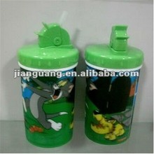 3D plastic water bottle with straw 550ml