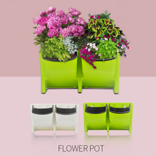 Colorful 2 Pockets Hanging Flower Pot Vertical Wall Planter green wall planter plastic Wall Planter