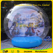 The most beautiful PVC&PVC tarpaulin inflatable snow globe, plastic snow globe with photo insert for decoration