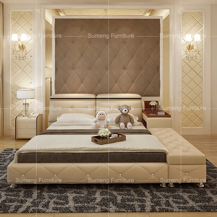 Sumeng Crystal Buttons Wooden Bed Designs Latest Bed