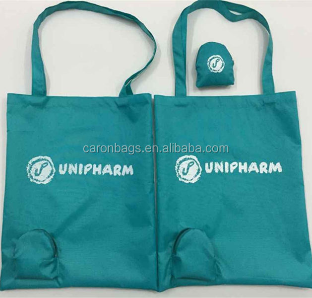custom zipper pocket 210d polyester reusable foldable shopping tote bags