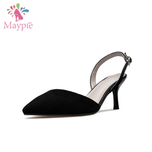 OEM and ODM Beautiful Women Shoes Black Suede Mature Sexy Slingback High Heels