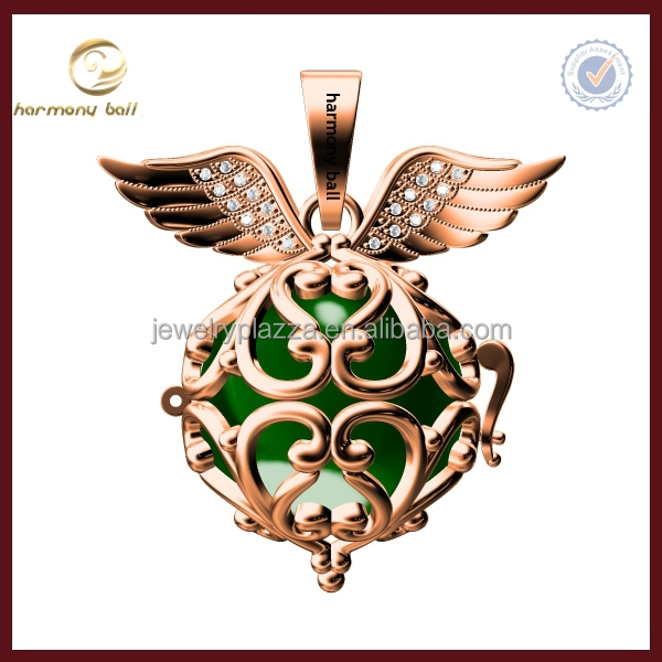 Newest Design rose gold plate angel wings mexican bola harmony ball