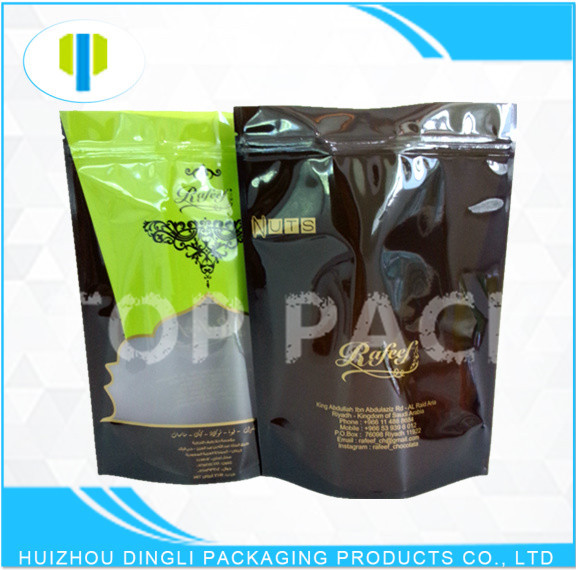 SGS food grade laminated stand up zipper 500g rice packaging bag