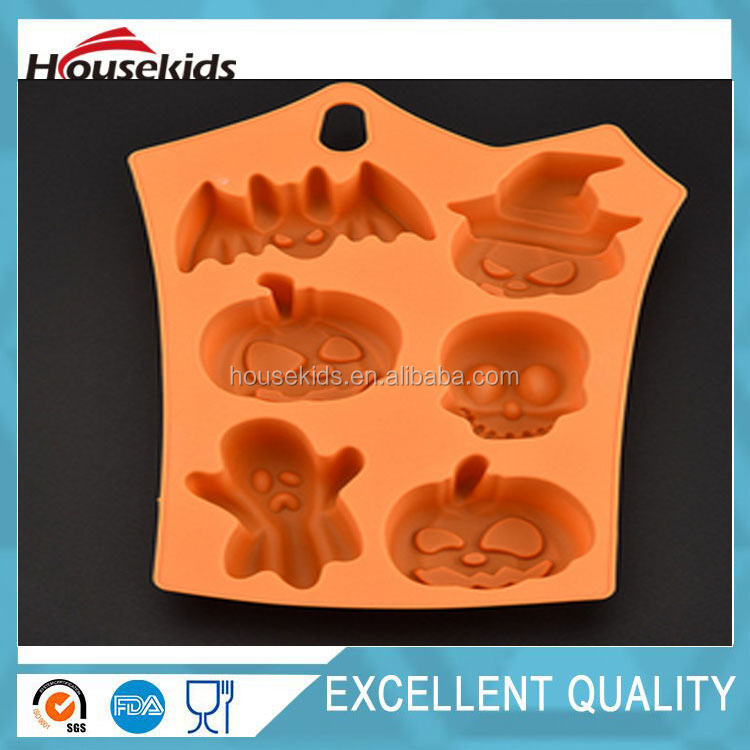 Special Style Halloween Gift Halloween Silicone Molds Or Halloween Silicone Ice Cube With Pumpkin,Bat,Skull Head And Ghost