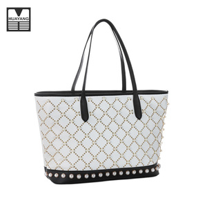 Guangzhou Supplier Pearl PU Leather Fashion Ladies Bags Tote bag Wholesale Handbag
