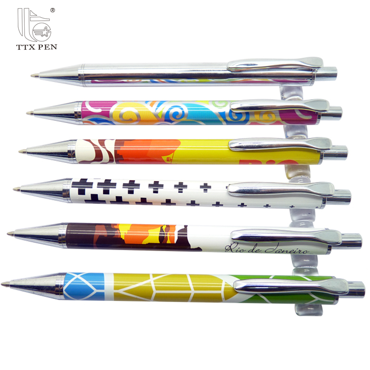 New Arrival Colorful Promotional Retractable Click Press Metal Ball Pens
