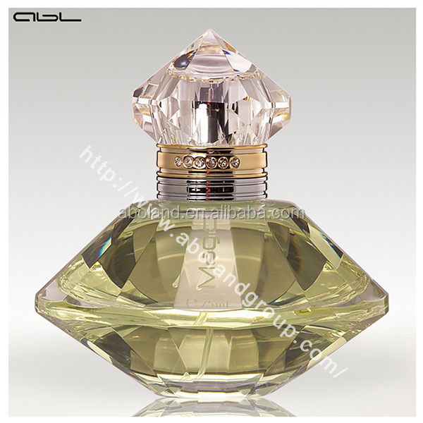 Design your own perfume bottle vintage spray shiny bottle with diamond cap and ring