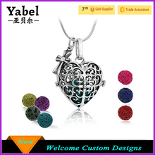 Premium Heart Aromatherapy Essential Oil Diffuser Necklace Locket Pendant and 7 Colours Lava Stone Beads for Perfect Gift Set