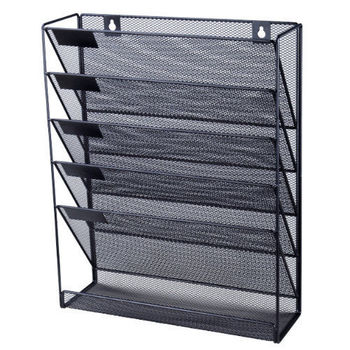 Buy Wholesale Factory Price Black Office Metal Wire Mesh Wall File Organizer
