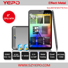 2014 8 inch tablet pc with GSM 3g phone call function dual sim card china