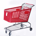 supermarket rolling plastic shopping cart with good quality plastic basket