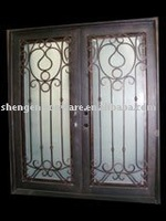 ornamental elegant wrought iron double swing door for commercial
