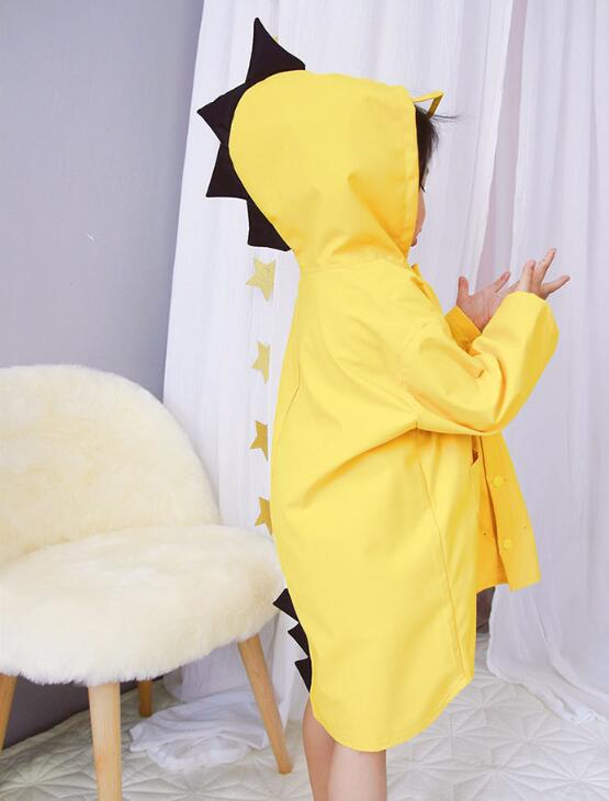 China factory hot sale  dinosaur yellow safety  waterproof  rain coat for kids