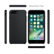 WinTop Black Shockproof Liquid Silicone Soft Case for iPhone 8 Plus