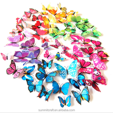 10colors mix magnetic removable 3d butterfly wall stickers
