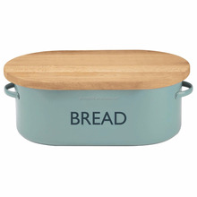 Bread Box, Kitchen Storage Bin, Home Food Container Steel Wood Top