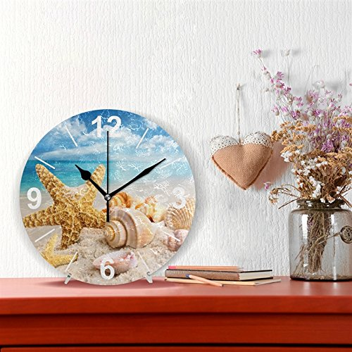 Tropical Shell Ocean Beach Round Acrylic Wall Clock, Silent Coreless Oil Painting Home Office School Decoration Clock Art