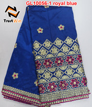 high quality african raw silk george fabric in royal blue with sequins GL10056